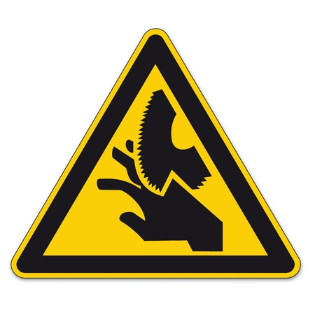saws: Safety signs warning triangle sign BGV vector pictogram icon blade cutting saw