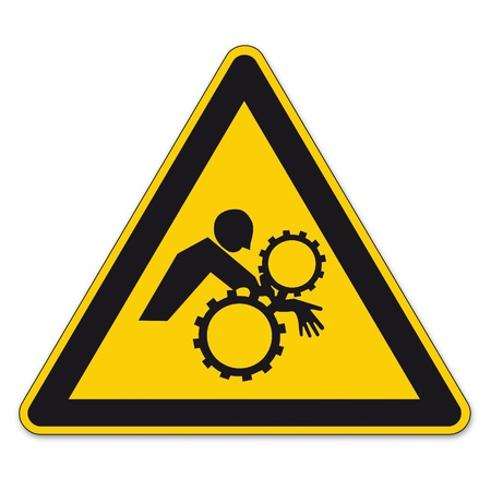 health and safety: Safety signs warning sign BGV A8 vector pictogram icon triangle unintentionally hand enter Illustration