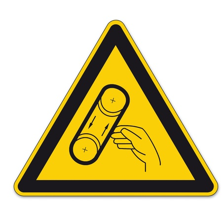 prohibition: Safety signs warning triangle sign BGV vector pictogram icon band draw hand squeeze