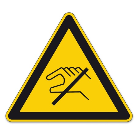 bgv: Safety signs warning triangle sign vector pictogram BGV A8 Icon Do not touch handle