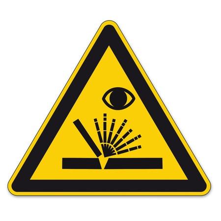 Segnaletica di sicurezza segno di avvertimento triangolo vettore pittogramma BGV Ico scintille di saldatura saldatore