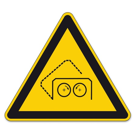 automatically: Safety signs warning triangle sign BGV vector pictogram icon automatically cover Illustration