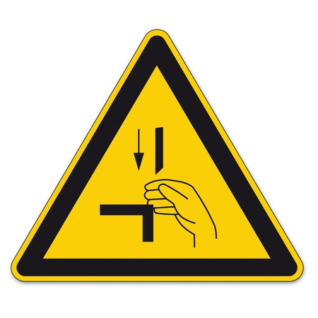 Safety signs warning triangle sign vector pictogram icon BGV cutting danger punching risk Vector