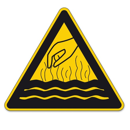 note of exclamation: Safety signs warning triangle sign BGV vktor pictogram icon steaming hot liquid hand Illustration