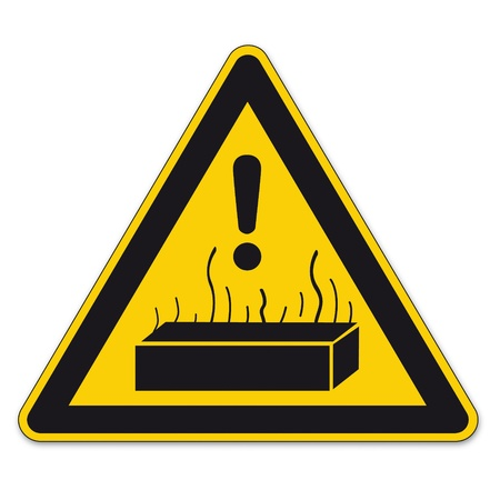 incineration: Safety signs warning triangle BGV exclamation sign vector pictogram icon hot substances Illustration
