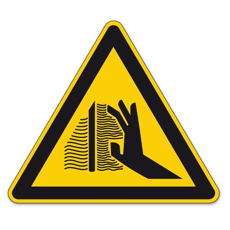 health and safety: Safety signs warning triangle sign BGV hand vector pictogram icon burns