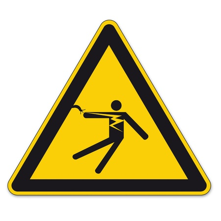 bgv: Safety signs warning triangle sign BGV vector pictogram icon electrical electrical shock