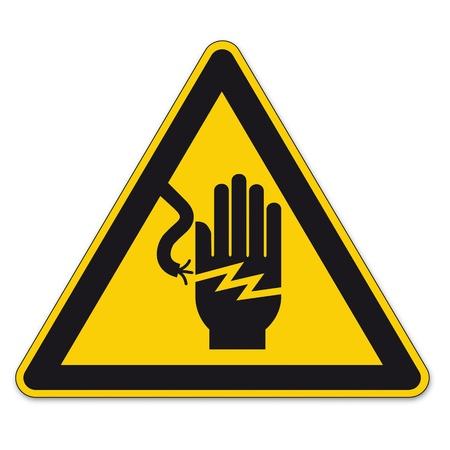 descarga electrica: Las señales de seguridad triángulo de advertencia signo vector pictograma BGV Ico eléctrico descargas eléctricas mano