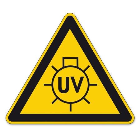radiacion: Las señales de seguridad triángulo de advertencia signo BGV vector pictograma icono lámpara UV dom.