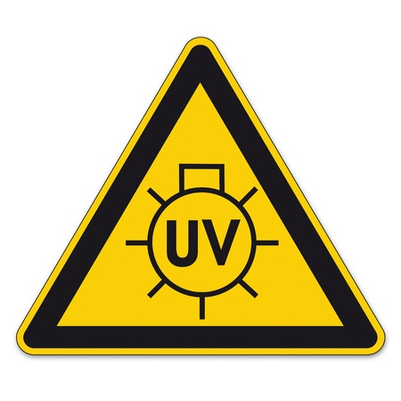uv: Safety signs warning triangle sign BGV vector pictogram icon UV sun lamp