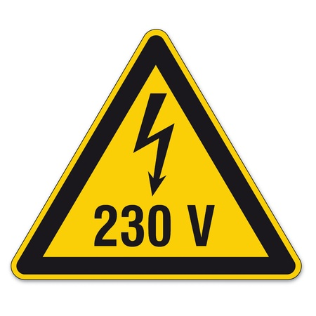 Safety signs warning triangle sign vector pictogram BGV A8 Icon arrow lightning electricity Stock Vector - 15313258