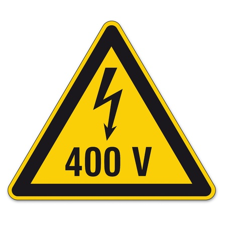 Safety signs warning triangle sign vector pictogram BGV A8 Icon arrow lightning electricity Stock Vector - 15313243