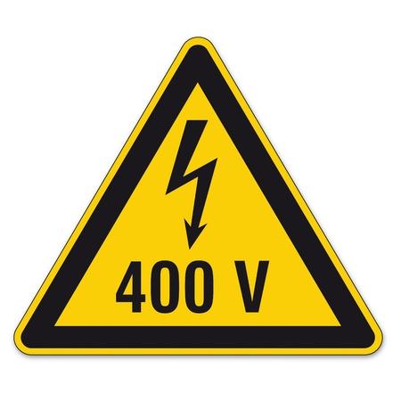 lightning arrow: Safety signs warning triangle sign vector pictogram BGV A8 Icon arrow lightning electricity Illustration