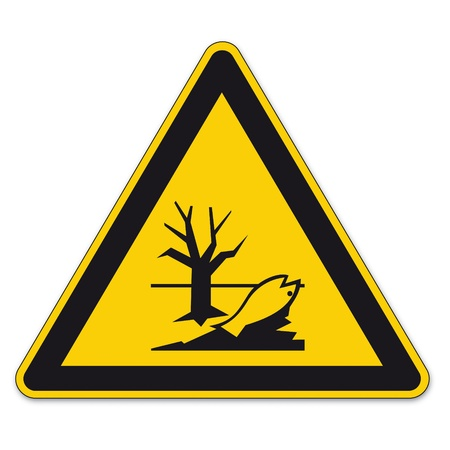 bgv: Safety signs warning triangle sign vector pictogram BGV A8 Icon pollution