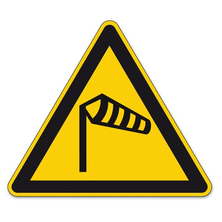 strong wind: Safety signs warning triangle sign BGV airport vector pictogram icon wind flow wind Illustration