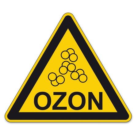 ózon: Biztonsági jel háromszög figyelmeztető háromszög jelzésen BGV egységvektor piktogram ikon ózonréteg generált