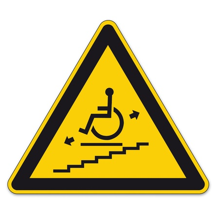 prohibition: Safety signs warning triangle sign BGV vector pictogram icon stairlift disabled