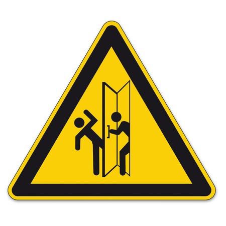 divieto: Informazioni sulla sicurezza segni triangolo segno vettore pittogramma icona BGV porta traffico battente