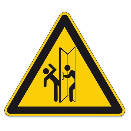 prohibition signs: Safety signs warning triangle sign vector pictogram icon BGV door swing traffic