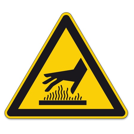 warn: Safety signs warning sign BGV A8 vector pictogram icon triangle hot hand surface