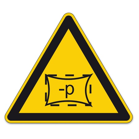 warn: Safety signs warning triangle sign BGV A8 vector pictogram icon space zone pressure Illustration