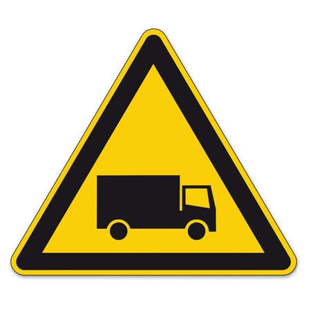 prohibition sign: Safety signs warning triangle truck BGV A8 sign vector pictogram icon vehicle traffic