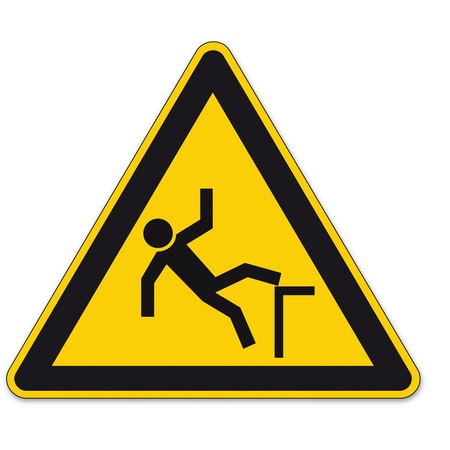 Safety signs warning triangle fall BGV sign vector pictogram icon fall hazard fall Vector