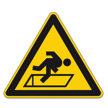 triangular warning sign: Safety signs warning triangle sign BGV floor hatches vector pictogram icon fall hazard