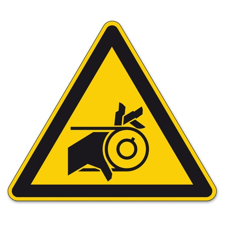 Safety signs warning triangle sign vector pictogram icon BGV hand injury hand strap Vector