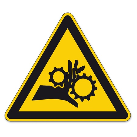 bgv: Safety signs warning triangle sign vector pictogram BGV A8 Icon hand injury gear
