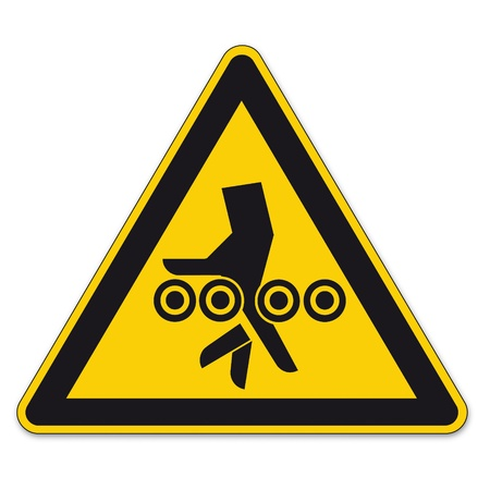 Safety signs warning triangle sign BGV A8 roll vector pictogram icon hand injury Vector