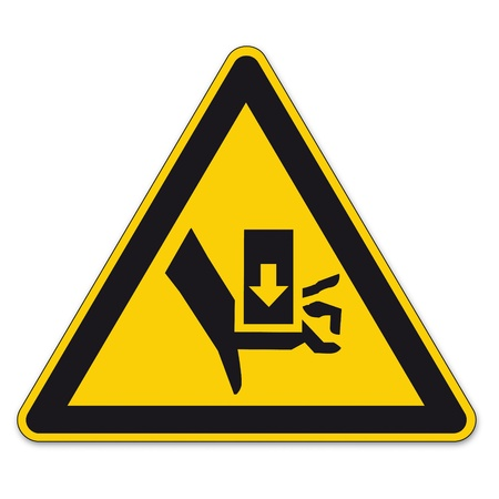 triangular warning sign: Safety signs warning triangle sign BGV hand vector pictogram icon crushing press-fit