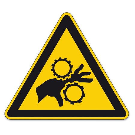 safety signs: Safety signs warning triangle sign vector pictogram BGV A8 Icon hand injury gear