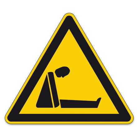 Safety signs warning triangle sign BGV vector pictogram icon suffocating lack of oxygen Vector