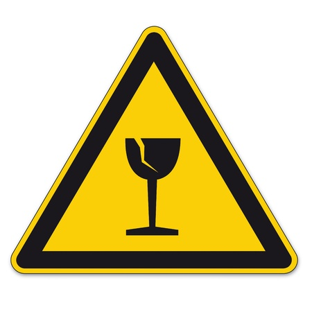 breakage: Safety signs warning triangle sign BGV vector pictogram icon shipping glass breakage Illustration