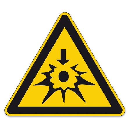 Safety signs warning triangle BGV explosion shield vector pictogram icon Autoignition