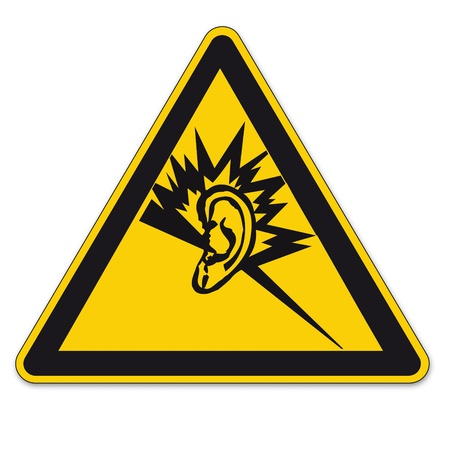 loud noise: Safety signs warning triangle ears BGV A8 sign vector pictogram icon hearing deaf
