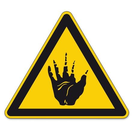 bgv: Safety signs warning triangle sign vector pictogram BGV A8 Icon acid leach chemistry hand