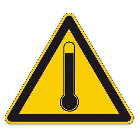 Safety signs warning triangle sign BGV high temperature thermometer vector pictogram icon Vector