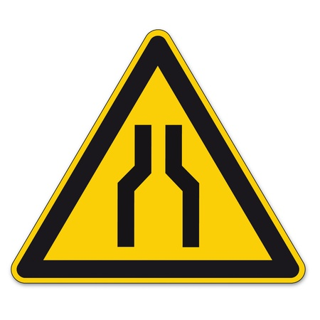 bottlenecks: Safety signs warning triangle sign vector pictogram BGV A8 Icon narrow street car
