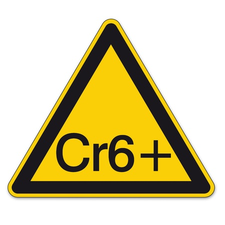 chromium: Safety signs warning triangle sign vector pictogram BGV A8 Icon Hexavalent Chromium