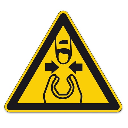 warn: Safety signs warning triangle hand sign BGV A8 vector pictogram icon finger pinch