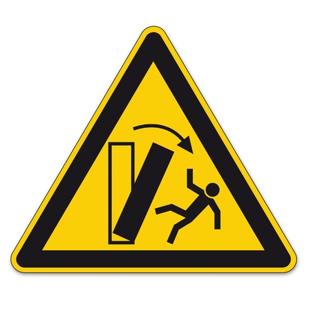 tipping: Warning  danger of tipping Safety signs BGV A8 triangle sign vector pictogram icon
