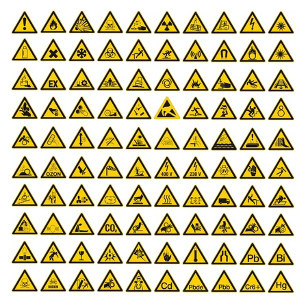 advertencia: Las se�ales de seguridad advirtiendo warndreieck BGV A8 tri�ngulo signo vector icon set pictograma Vectores