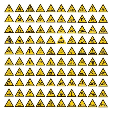 Warndreieck BGV A8 の横の三角形の警告安全標識ベクトルの絵文字アイコンを設定 ベクターイラストレーション