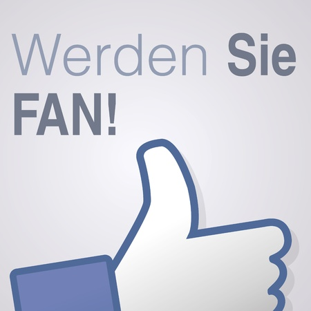 Face symbol hand i like fan fanpage social voting dislike network book icon werden Sie fan Vector