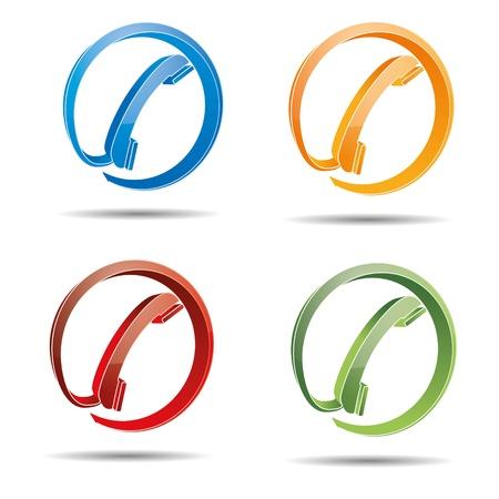 hotline: Contact cirkel telefonische hotline kontaktfomular callcenter bellen pictogram teken symbool telefoontoestel Stock Illustratie