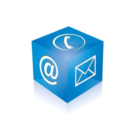 Contact kubus telefoon op e-mail e-mail hotline kontaktfomular callcenter bellen pictogram teken symbool kubus Stock Illustratie