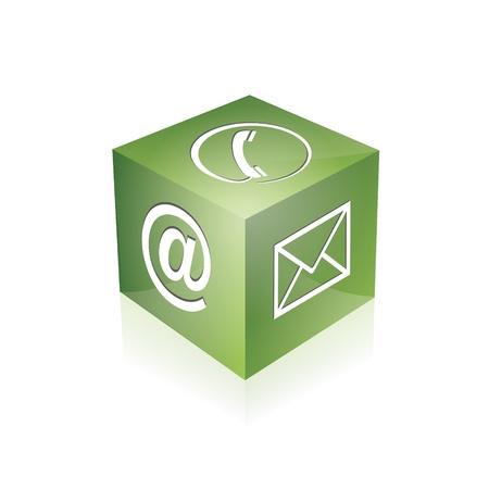 hotline: Kontakt cube telefonisch unter E-Mail E-Mail-Hotline kontaktfomular callcenter Anruf Piktogramm symbol cube Illustration