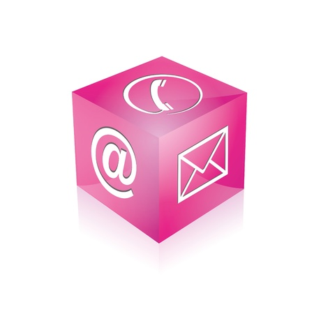 email contact: Contact cube phone at email e-mail hotline kontaktfomular callcenter call pictogram sign symbol cube Illustration